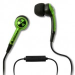 green iphone 3gs earphones and mic