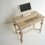 wood computer table art mod