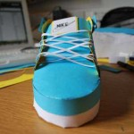 blue nike shoe from paper