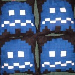 blue pacman ghosts pillows