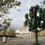 metallic traffic cool light tree