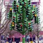 metallic traffic light tree