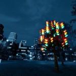 metallic traffic night light tree
