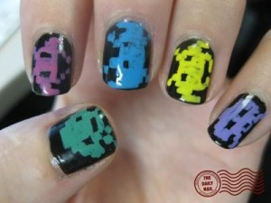 space invaders nails