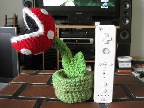 super mario piranha plant crochet doll