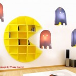 pac man bookcase with ghosts