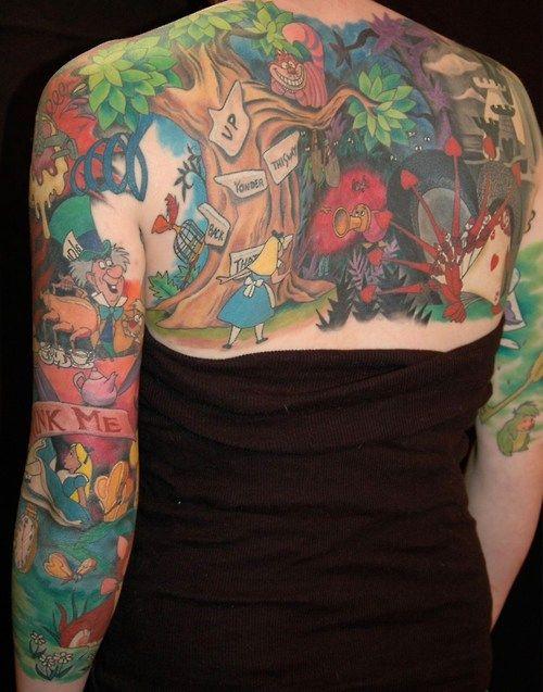 alice in wonderland tattoo back