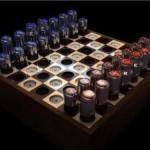 funky vacuum tube chess set