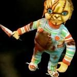scary chucky doll with knife