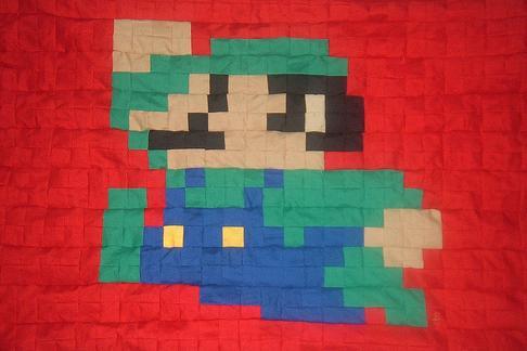 super mario brother quilt art