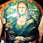 mona lisa back tattoo