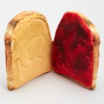 Peanut butter and jelly sandwich open