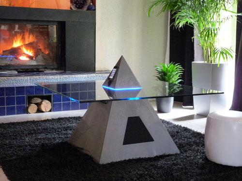 Pyramid Shaped Coffee Table-cum-iPod Dock (2)