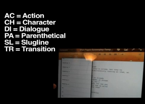 ipad screenplay template