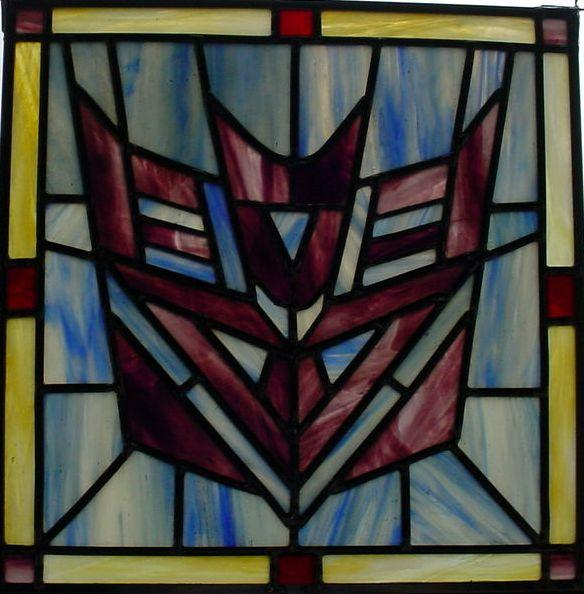 stained glass optimus prime