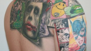 batman collage tattoo 1