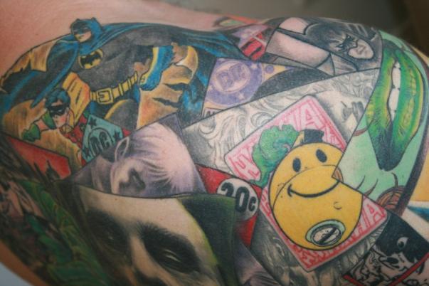 batman collage tattoo 1