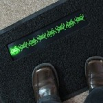 """Geeky Door Mat """"Back Off"""" LED Space Invaders"""