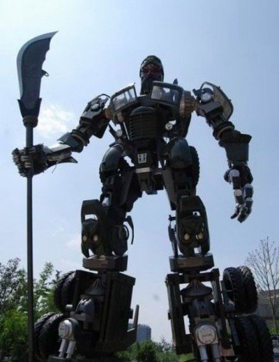 optimus prime transformer sculpture steel image