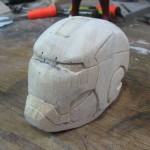 iron man carved helmet art