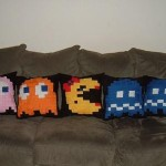 ms pacman ghosts pillow design
