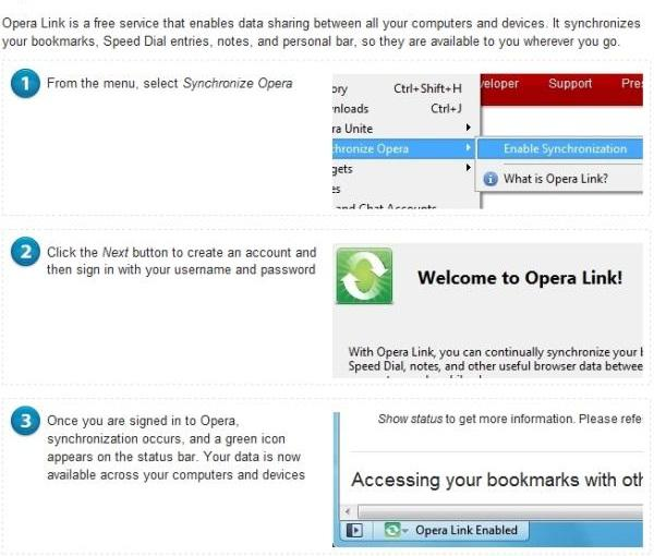 Opera Link for private data
