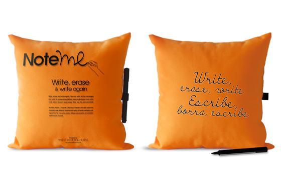 note me pillow orange