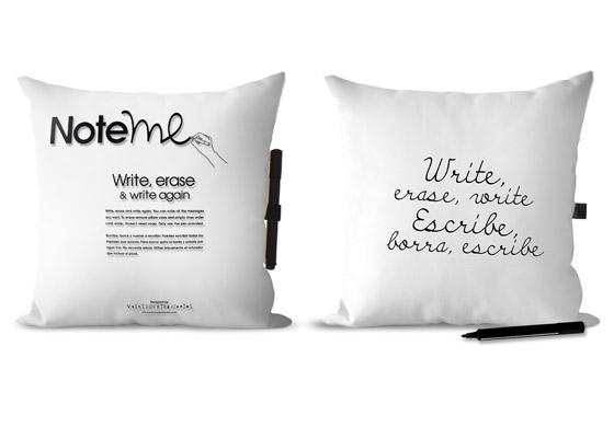 note me pillow white