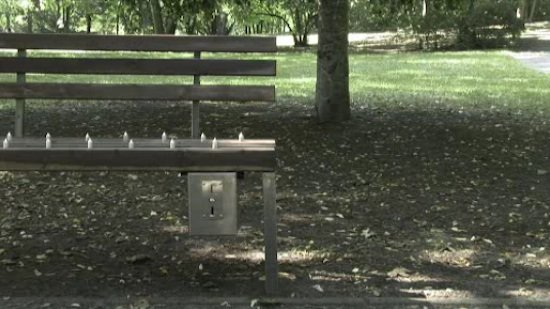 bench with spikes design