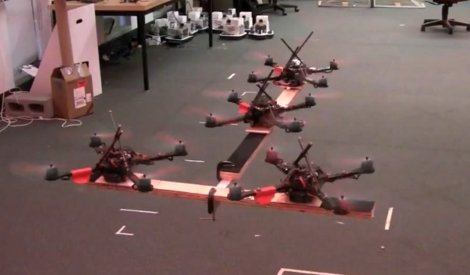 quadcopters cooperating lifting and transporting