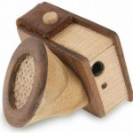 Wooden iPod Mini Speakers with Pencil Sharpener