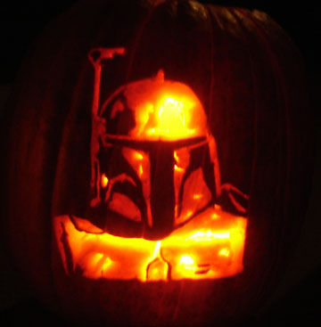 halloween pumpkin carvings artwork boba fett