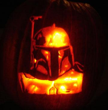 halloween pumpkin carvings artwork boba fett
