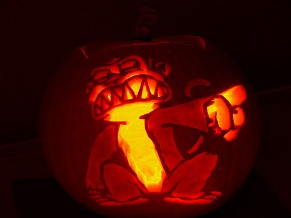 halloween pumpkin carvings artwork  monkey