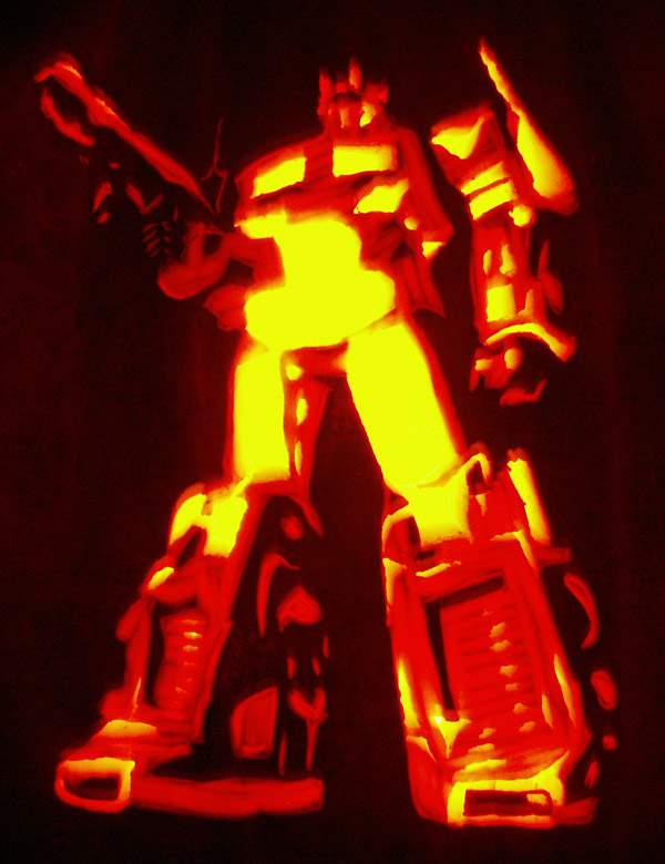halloween pumpkin carvings artwork optimus prime