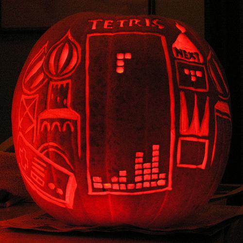 halloween pumpkin carvings artwork tetris