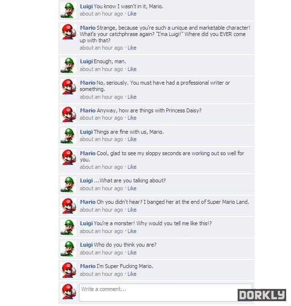 mario & luigi facebook fight