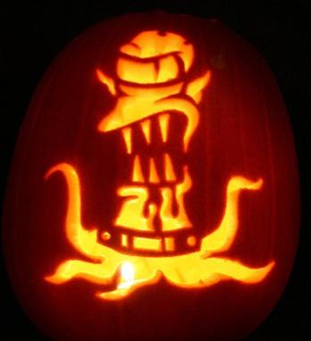 pumpkin carvings the simpsons alien 1
