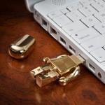 Golden robot USB flash drive 2