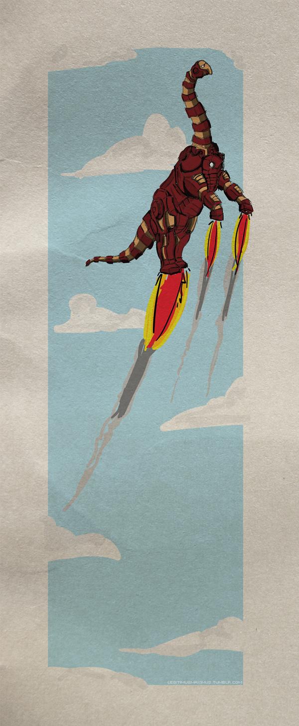 Superhero Dinosaur - Brontosaurus Iron Man
