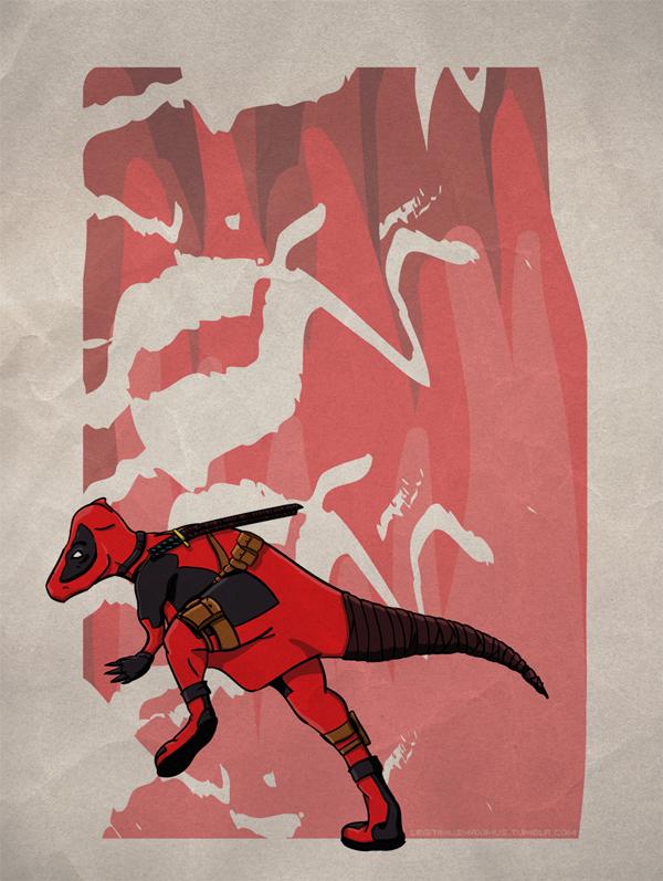 Superhero Dinosaur - Pachycephalosaurus Deadpool