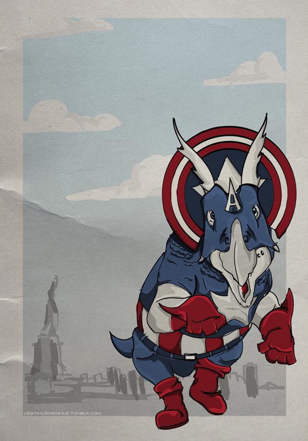 Superhero Dinosaur - Triceratops Captain America