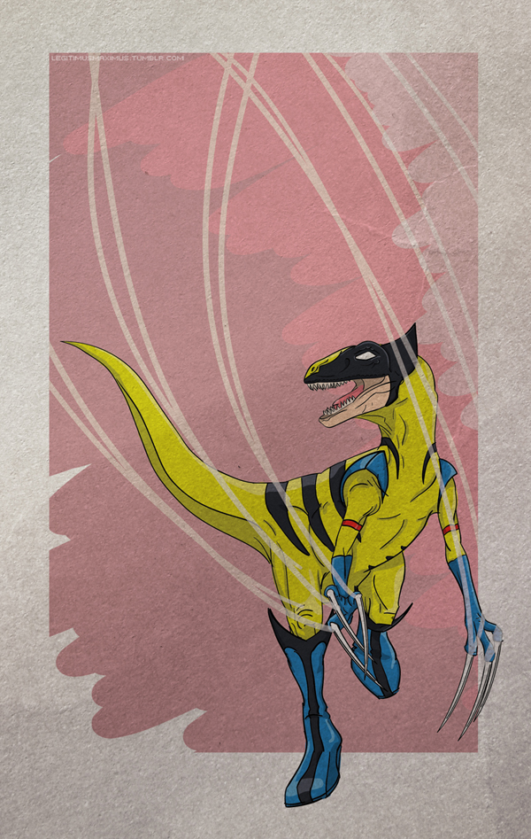 Superhero Dinosaur - Velociraptor Wolverine