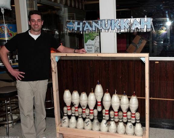 bowling pins hanukkah menorah