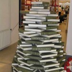 christmas tree book stack