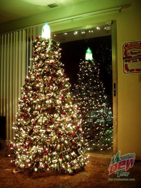 christmas tree mountain dew cans