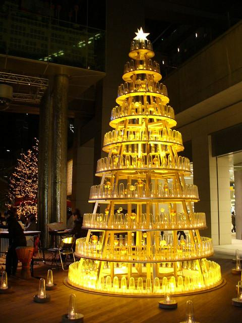 christmas trees yellow led bottle