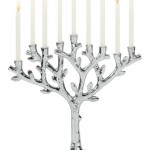 silver menorah lighting