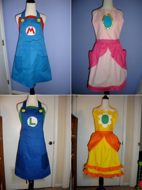 super mario bros kitchen aprons