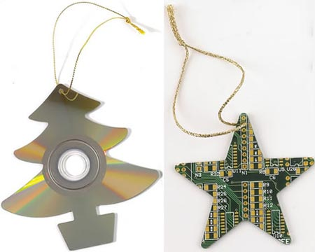 xmas ornaments circuit boards